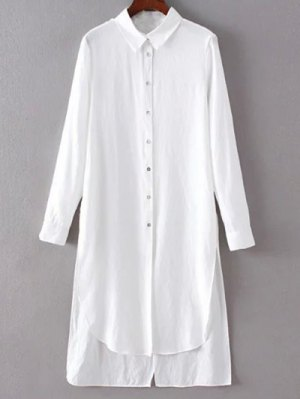 High Low Single-Breasted Tunic Shirt Dress - White