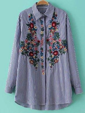 Camisa A Rayas Bordado Floral - Raya