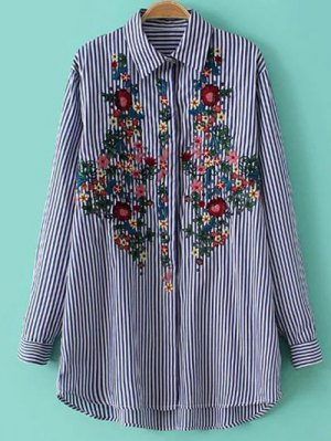 Striped Floral Embroidered Collared Shirt - Stripe