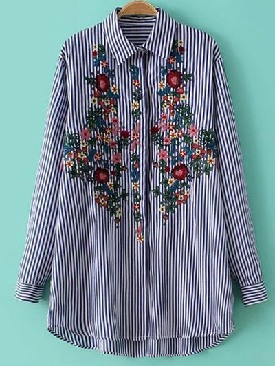 Long Sleeve Striped Floral Embroidered Shirt