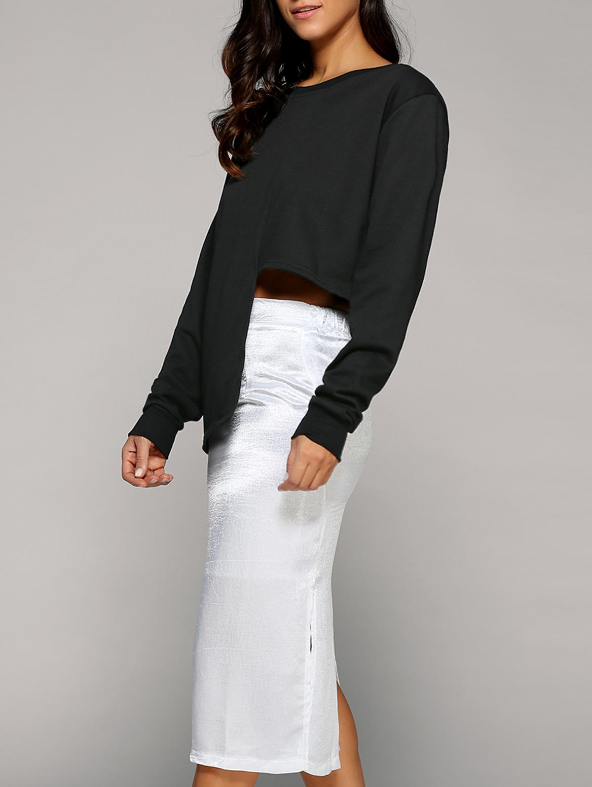 Asymmetric Sweatshirt With Slit SkirtClothes<br><br><br>Size: ONE SIZE<br>Color: WHITE AND BLACK