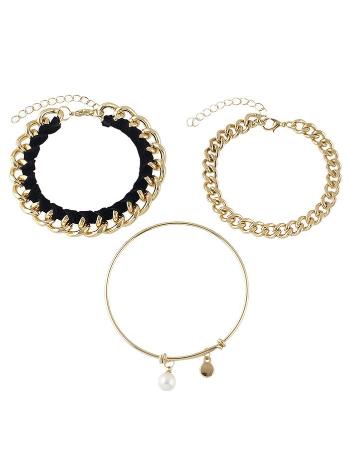Faux Pearl Chain Jewelry Set Bracelets