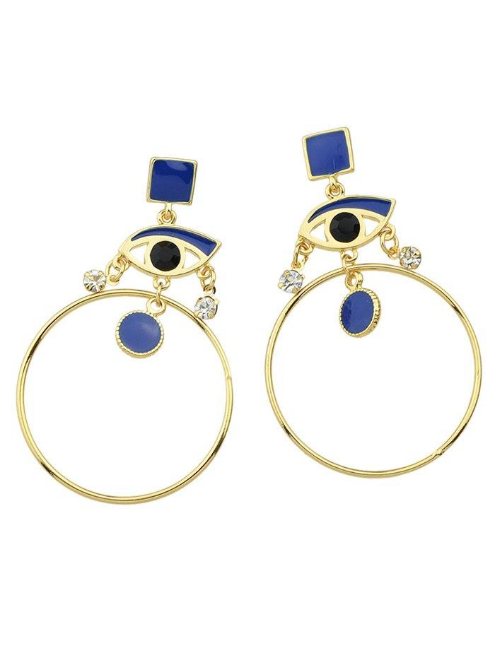 Rhinestone Eye Circle Geometric Drop Earrings