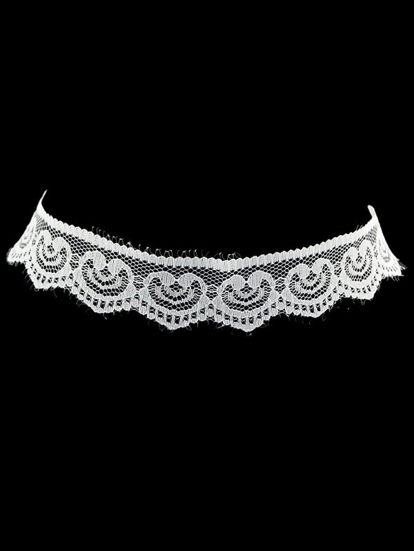 Faux Lace Heart Choker Necklace