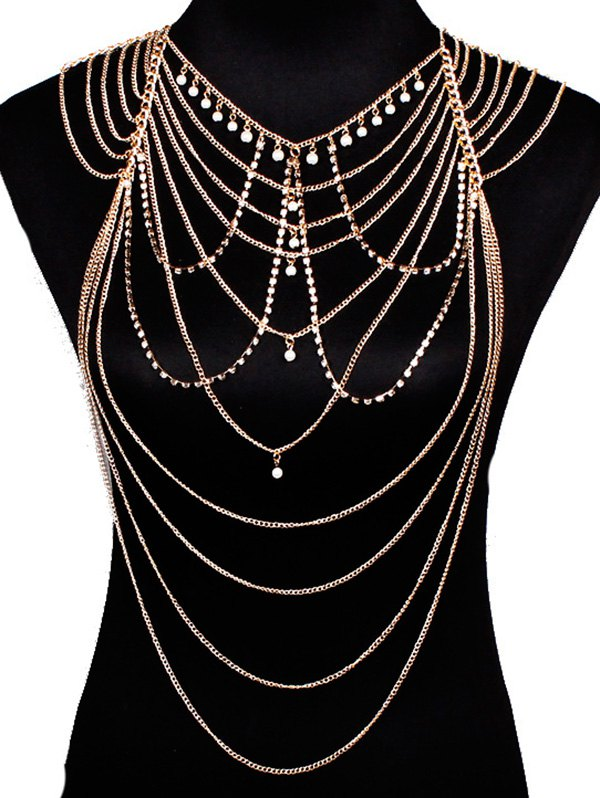 Artificial Pearl Rhinestone Layered Body Chain
