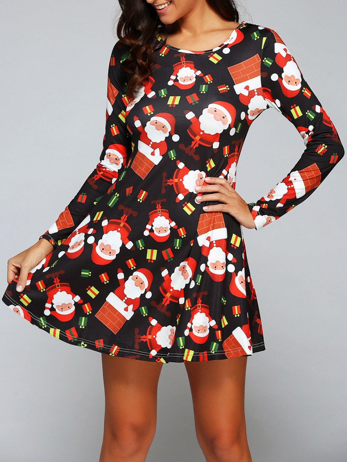 Christmas Gift Print Long Sleeve Dress