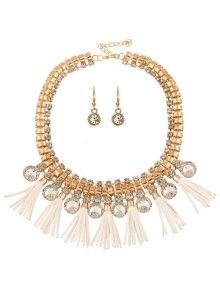 Faux Leather Tassel Rhinestone Jewelry Set