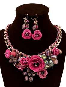 Faux Crystal Woven Flower Jewelry Set - Rose Madder