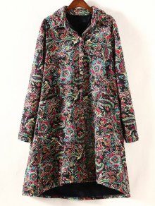 Retro Print Plus Size Fleece Coat - Black