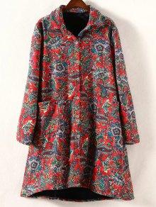 Retro Print Plus Size Fleece Coat