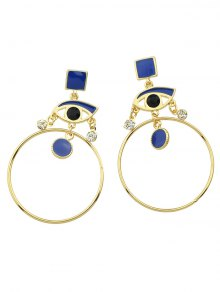 Rhinestone Circle Eye Geometric Drop Earrings