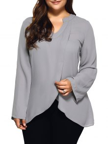 Front Slit Plus Size Loose Fitting Blouse