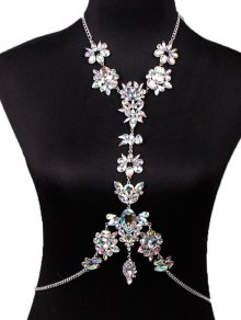 Faux Crystal Floral Leaf Body Chain