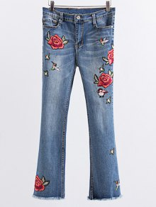 Buy Rose Embroidered Frayed Boot Cut Jean L LIGHT BLUE