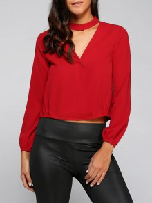 Crossover Choker Blouse