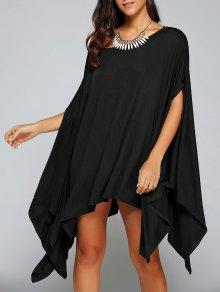 Loose Asymmetric One-Shoulder Bat-Wing Sleeve Dress - Black L