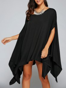Loose Asymmetric One-Shoulder Bat-Wing Sleeve Dress - Black