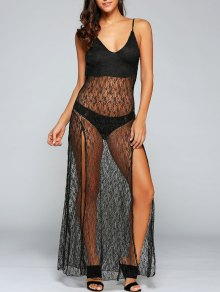 Sexy See-Through Backless Sheer Lace Cami Dress - Black M