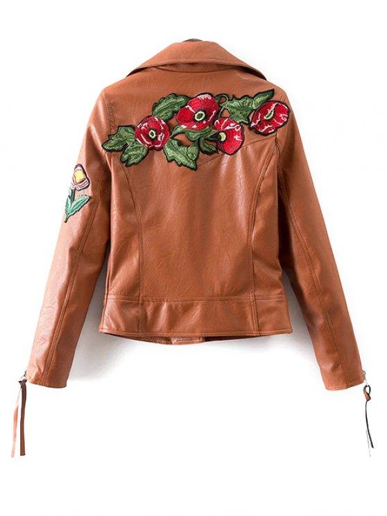 Floral Patchwork Biker Jacket - BROWN S Mobile
