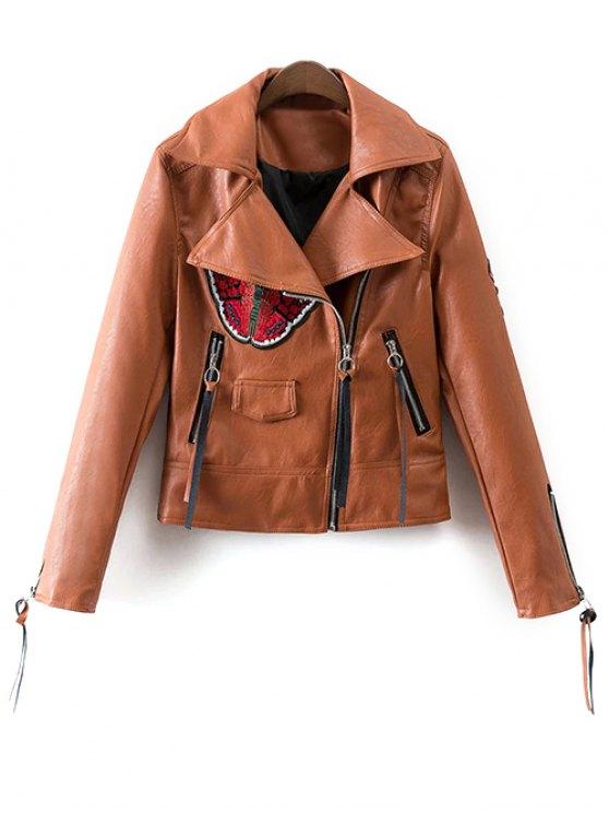 best Floral Patchwork Biker Jacket - BROWN M