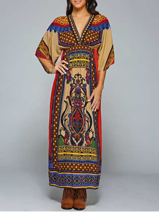 lady Empire Waist Printed Maxi Kaftan Dress - COLORMIX ONE SIZE