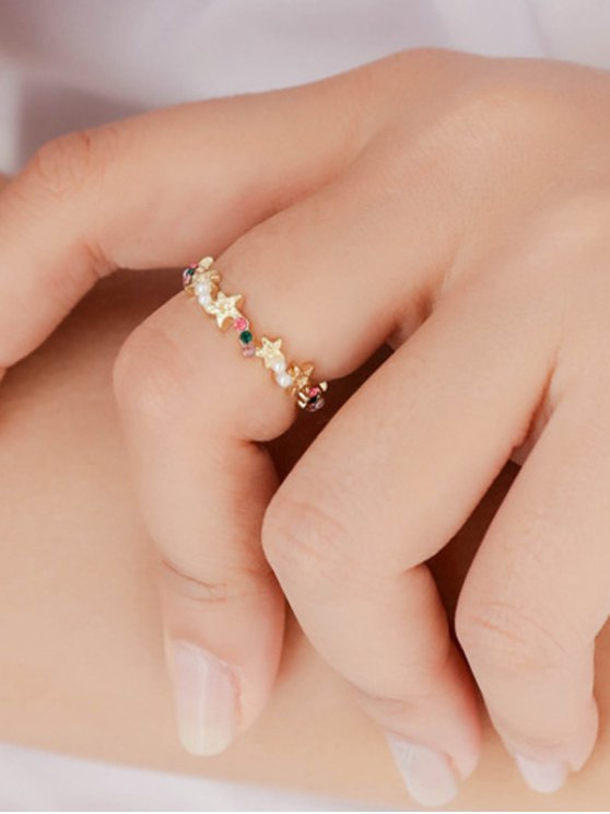 Small Faux Pearl Rhinestone Ring - COLORFUL  Mobile