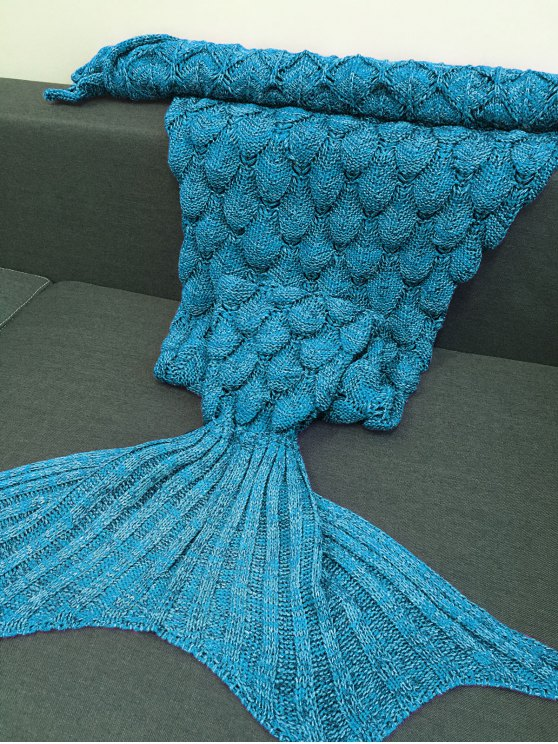 Fish Scales Design Mermaid Blanket - LAKE BLUE M Mobile