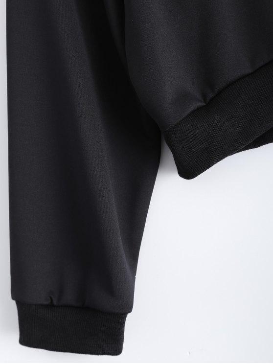 Letter Pattern Cropped Sweatshirt - BLACK S Mobile