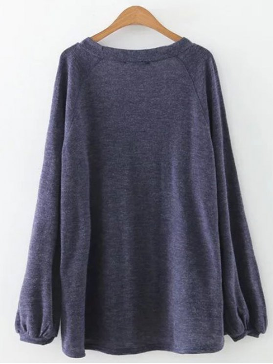 Plunging Neck Lantern Sleeve Tee - BLUE GRAY M Mobile