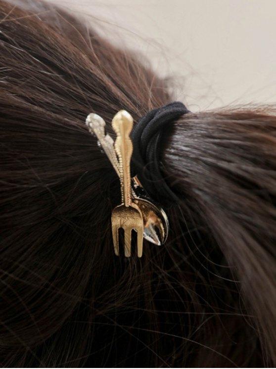 Spoon Fork Elastic Hair Band - BLACK  Mobile