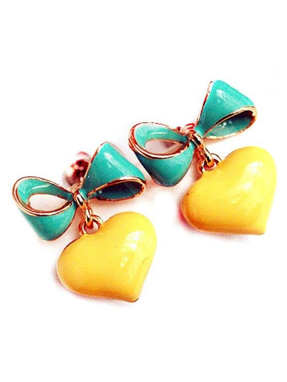ladies Bowknot Heart Drop Earrings - YELLOW