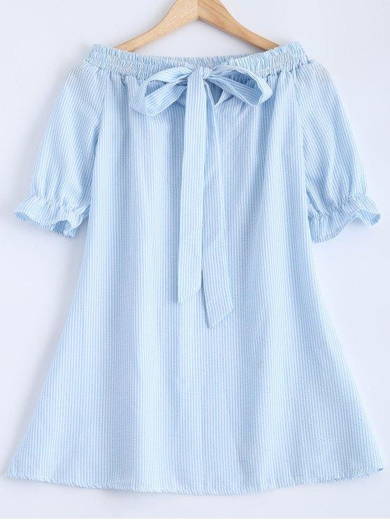 Del Bowknot del hombro vestido rayado - Azul Claro S