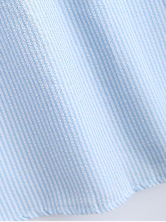 Bowknot Off Shoulder Striped Dress - LIGHT BLUE S Mobile