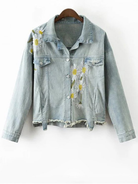 Daisy Embroidered Frayed Denim Jacket - LIGHT BLUE M Mobile