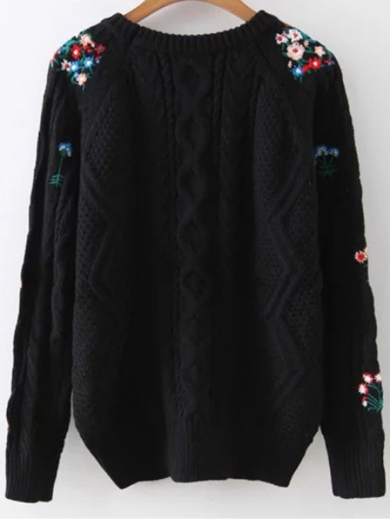 Flower Embroidered Sweater - BLACK ONE SIZE Mobile