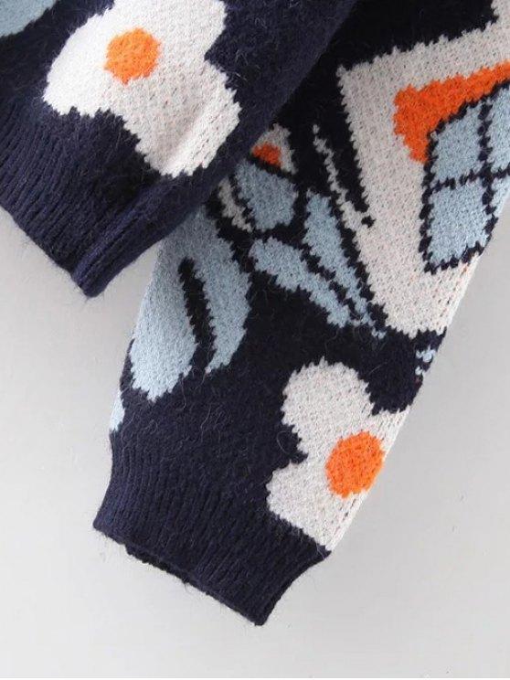 Full Sleeve Jacquard Cardigan - PURPLISH BLUE ONE SIZE Mobile