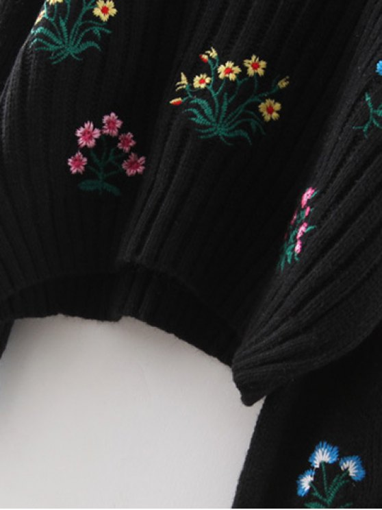 Tiny Floral Embroidered Sweater - BLACK ONE SIZE Mobile