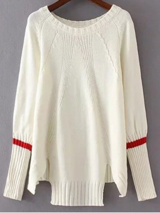 High Low Raglan Sleeve Slit Sweater - WHITE ONE SIZE Mobile