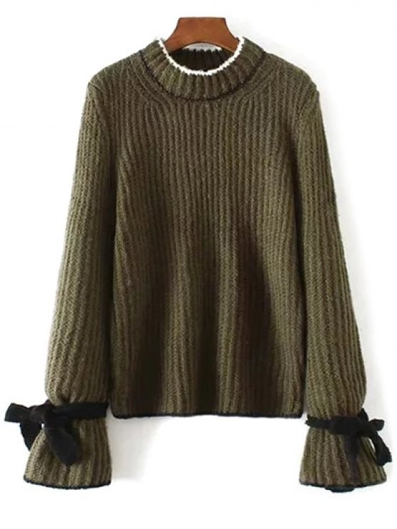 Conrtast Trim Crew Neck Sweater - ARMY GREEN ONE SIZE Mobile