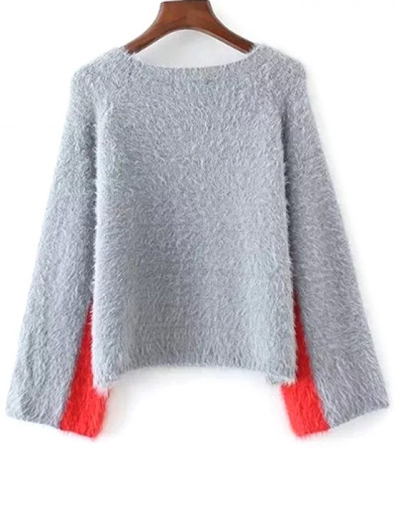 Color Block Jacquard Sweater - GRAY ONE SIZE Mobile