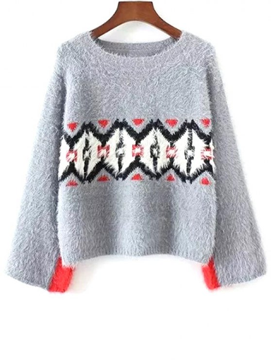 fashion Color Block Jacquard Sweater - GRAY ONE SIZE