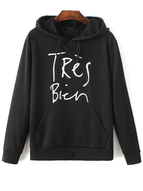 Letter Pattern Hoodie - BLACK XL Mobile