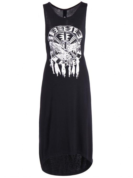 latest Printed Cutout High Low Hem Tank Dress - BLACK 2XL