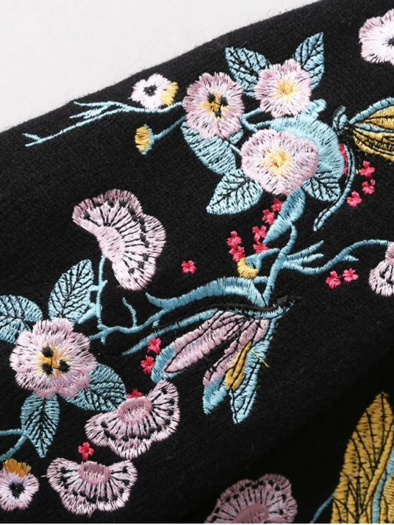 Bird Floral Embroidered Sweater - WHITE ONE SIZE Mobile