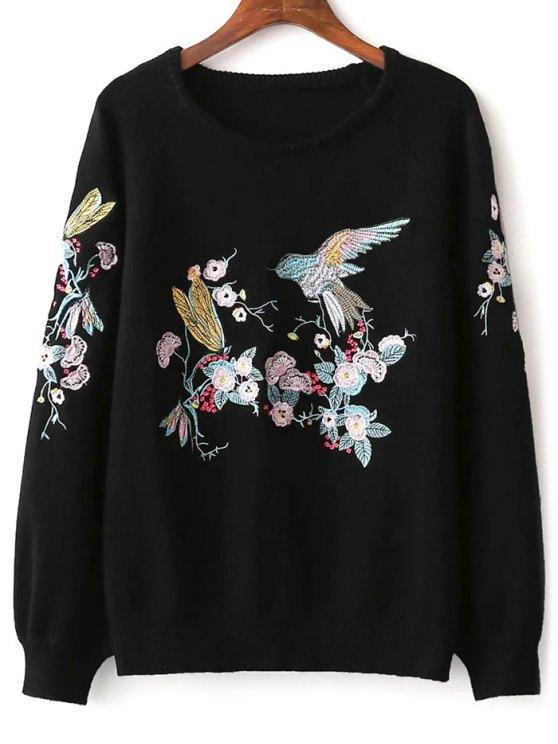 Pájaro floral del suéter bordado - Negro Única Talla