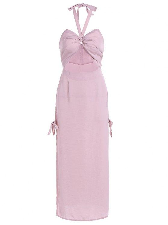 shop Cut Out High Slit String Halter Dress - NUDE PINK L