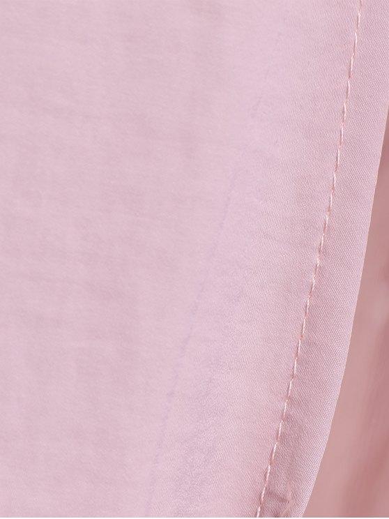 Cut Out High Slit String Halter Dress - NUDE PINK L Mobile