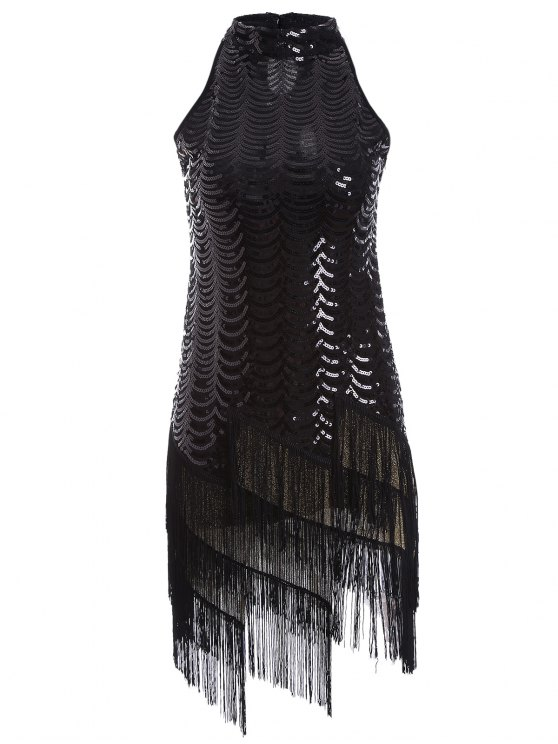 fancy Tassels Sequins Party Dress - BLACK ONE SIZE
