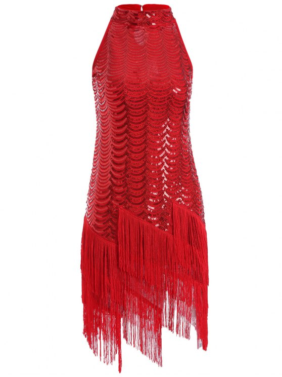 sale Tassels Sequins Party Dress - RED ONE SIZE
