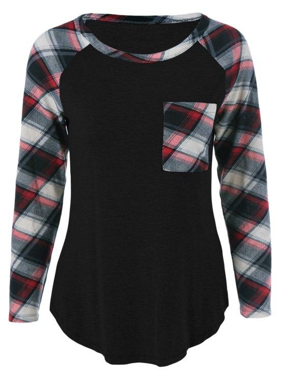 buy One Pocket Plaid Sleeve T-Shirt - BLACK XL
